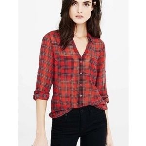 Express Portofino plaid shirt chiffon button down